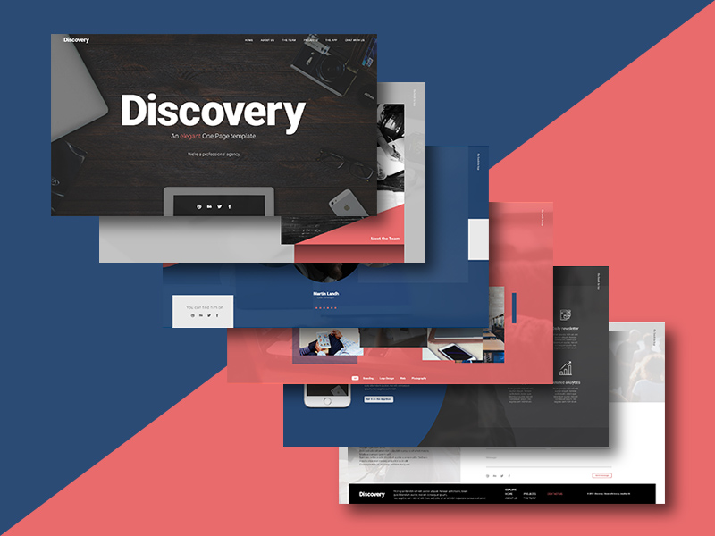 Discovery One Page Website Template PSD
