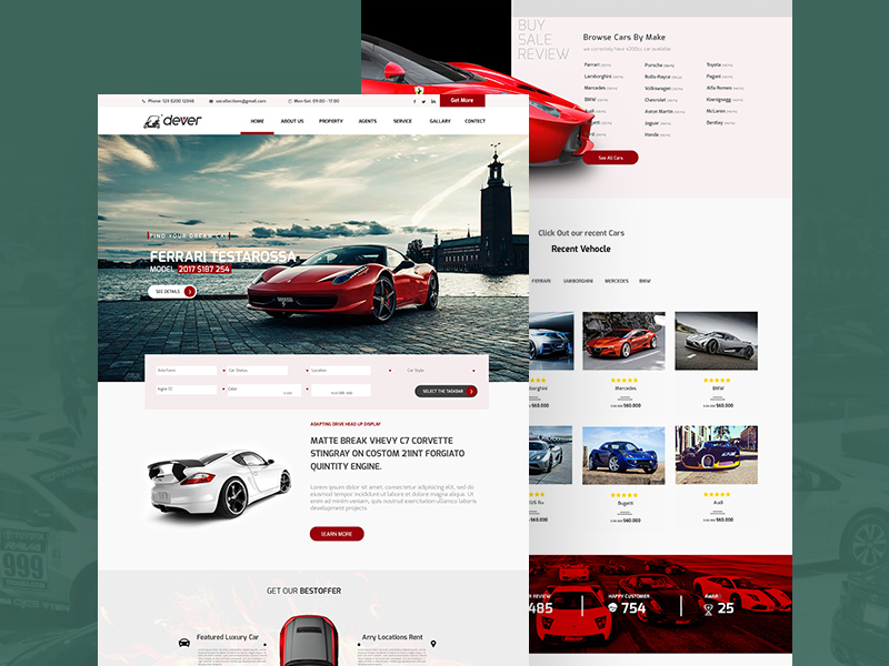 Driving Car Showroom Website Template PSD