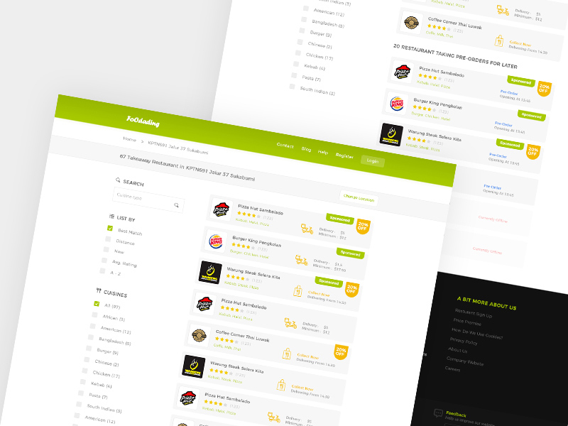 Foodading Website Design PSd