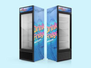 Free Soft Drinks Fridge - Refrigerator Mockup PSD Set02