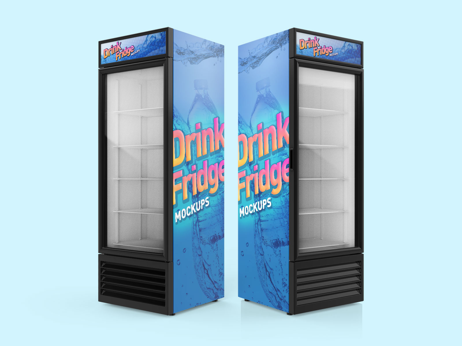 Free Soft Drinks Fridge - Refrigerator Mockup PSD Set02