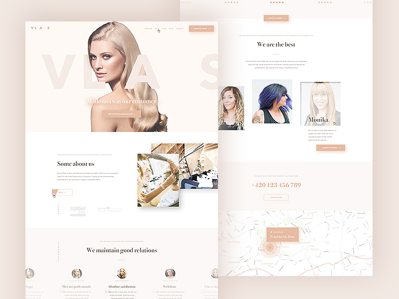 Hairdresser Website Landing Page Template PSD