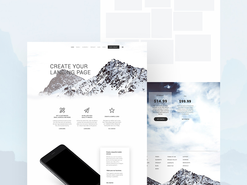 Landing Page Template Mockup Free PSD