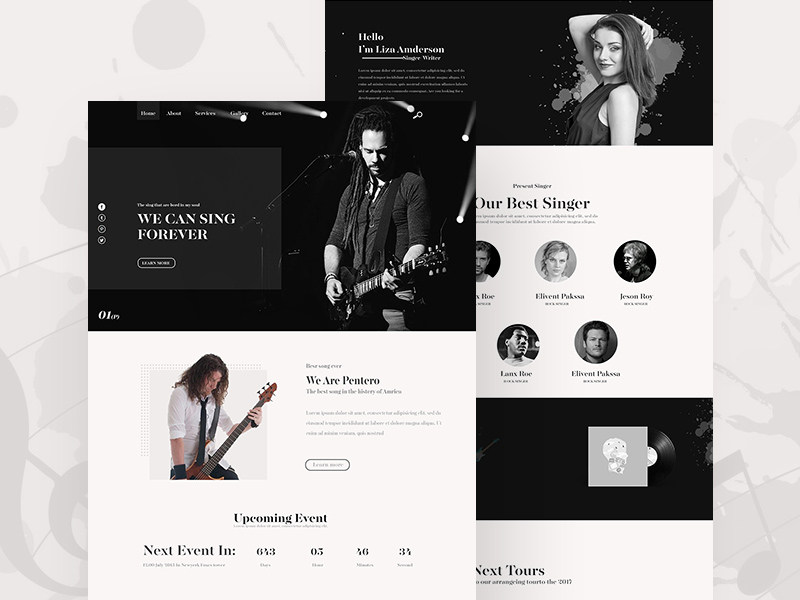 Music Home Page Redesign PSD