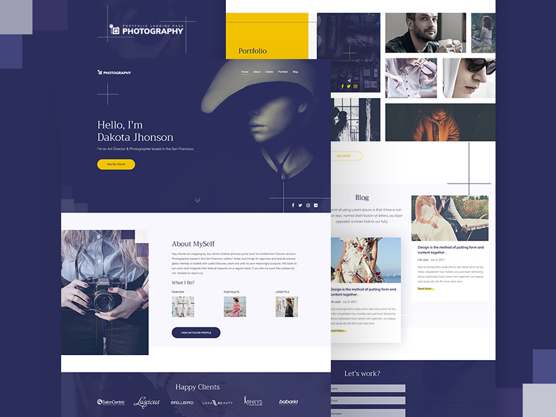 Photography Website Template PSD