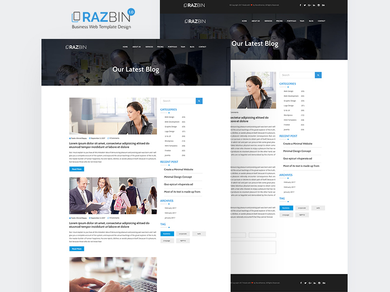 Razbin Digital Agency Website Template PSD