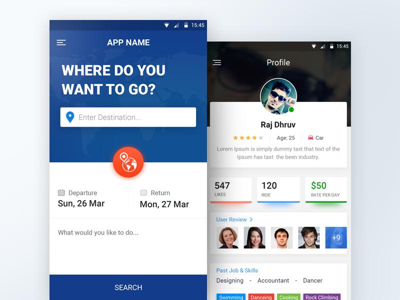 Traveling Mobile App UI PSD