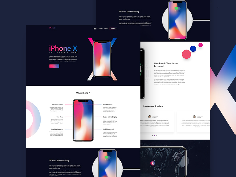 iPhone X Landing Page Free PSD