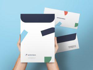 Free Envelope & A4 Folder Mockup psd