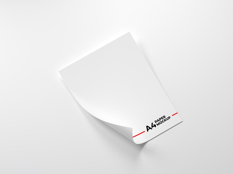 Free Folded A4 Paper Free Mockup PSD