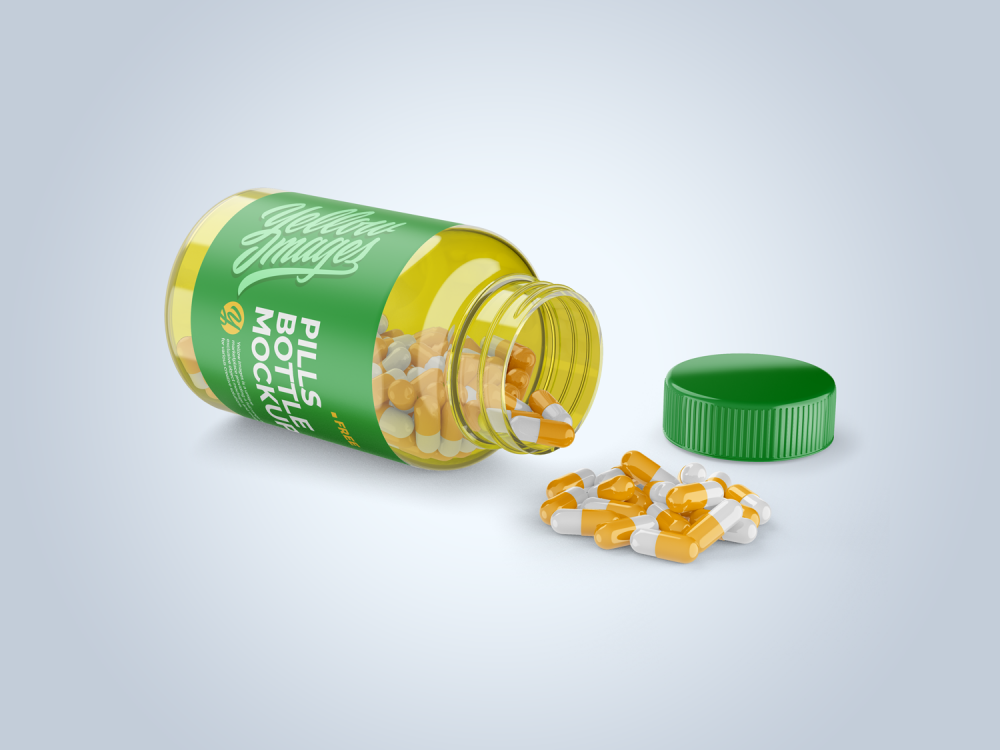 Free Open Transparent Bottle with Pills Mockup