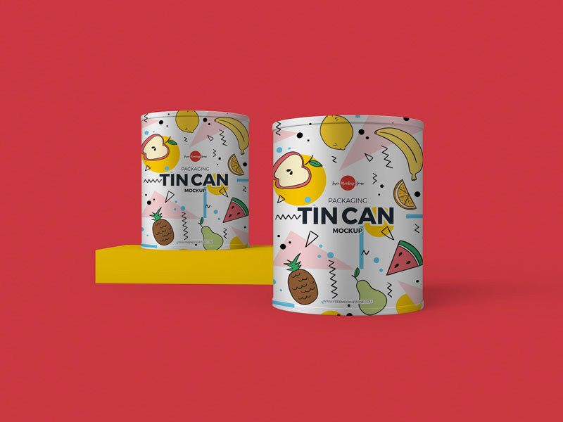 Free Packaging Tin Can Mockup PSD