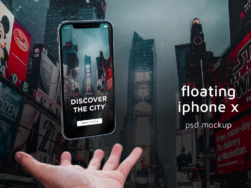 Free Floating iPhone X PSD Mockup