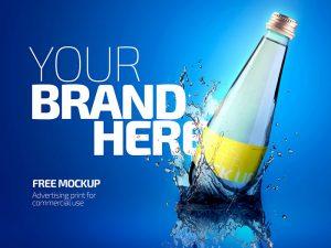 Free Glass Bottle Mockup PSD