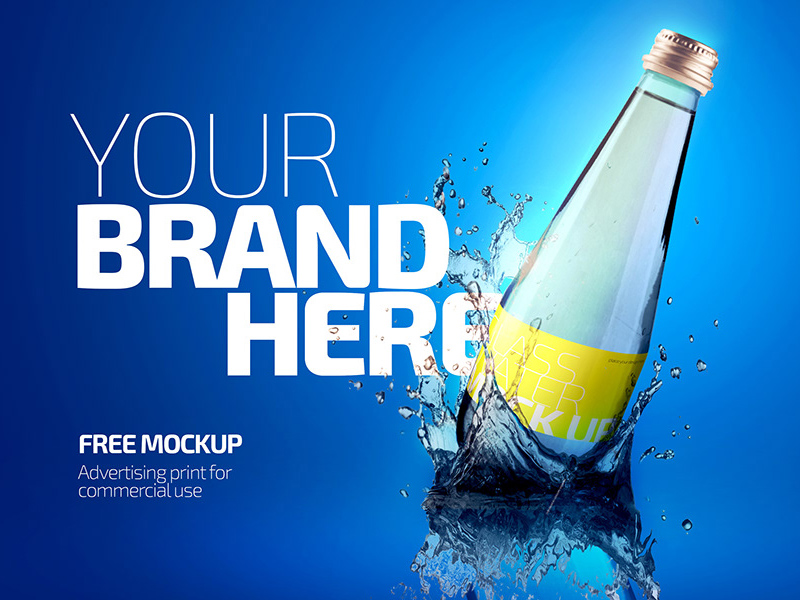 Free Glass Bottle Mockup PSD