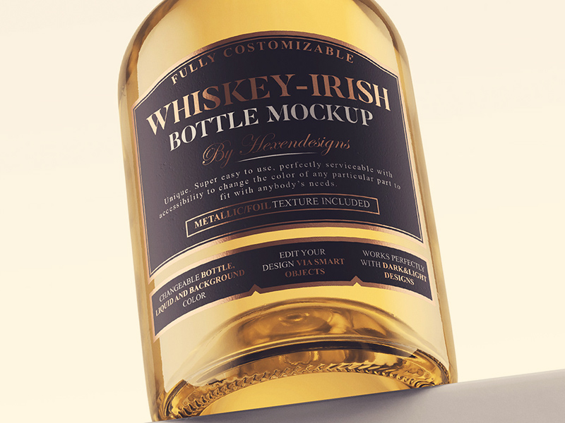 Free Whiskey-Irish Bottle Mockup (PSD)
