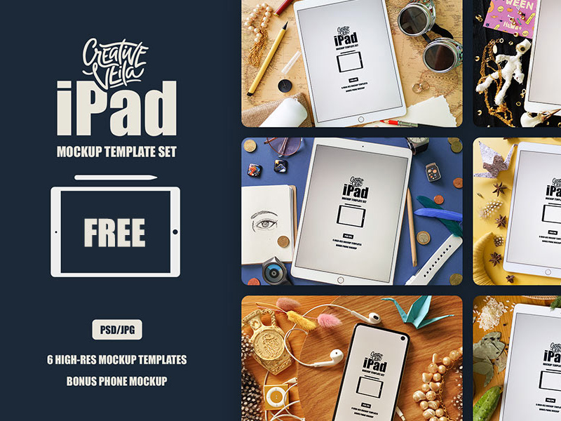Free iPad PSD Mockup Template Set