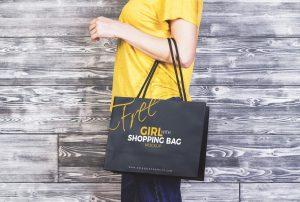 Girl With Shopping Bag PSD