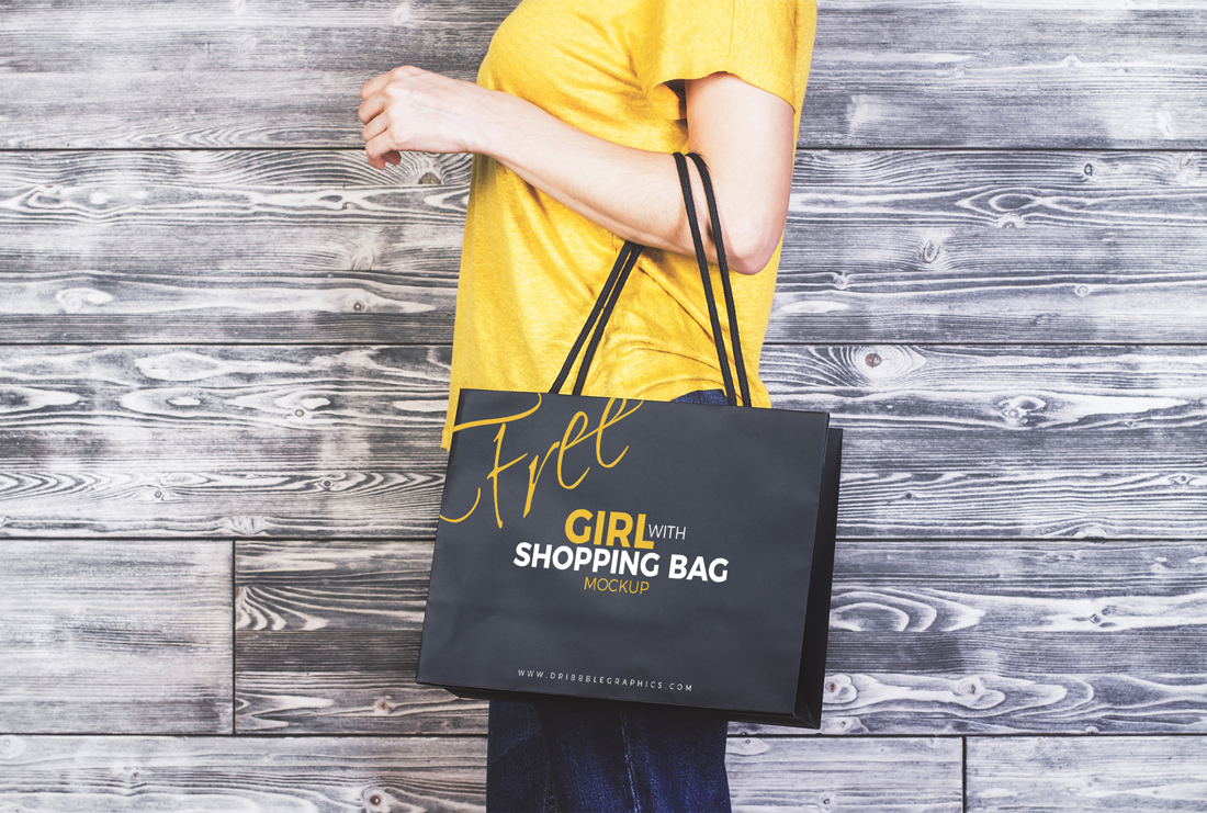 Girl With Shopping Bag PSD
