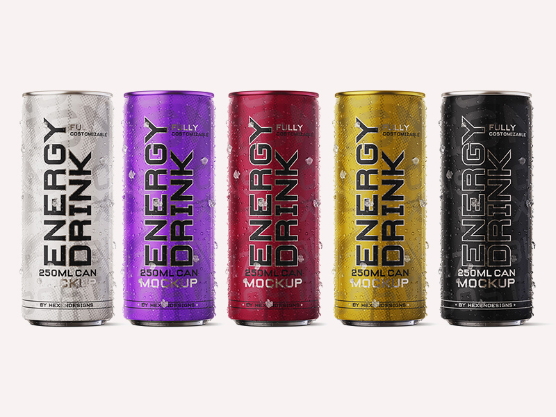 Free Energy Drink Can Mockup.