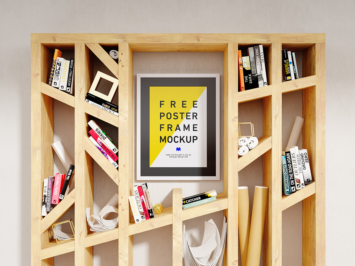 Free Framed Poster Mockup PSD