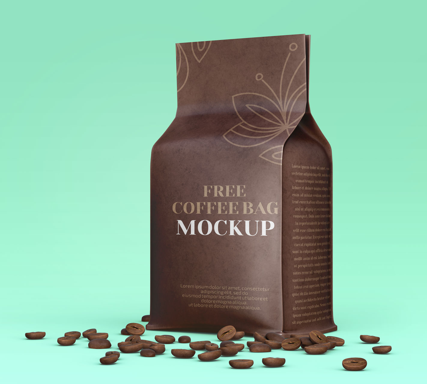 Flat-Bottom-Brown-Kraft-Coffee-Bag-Packaging-Mockup