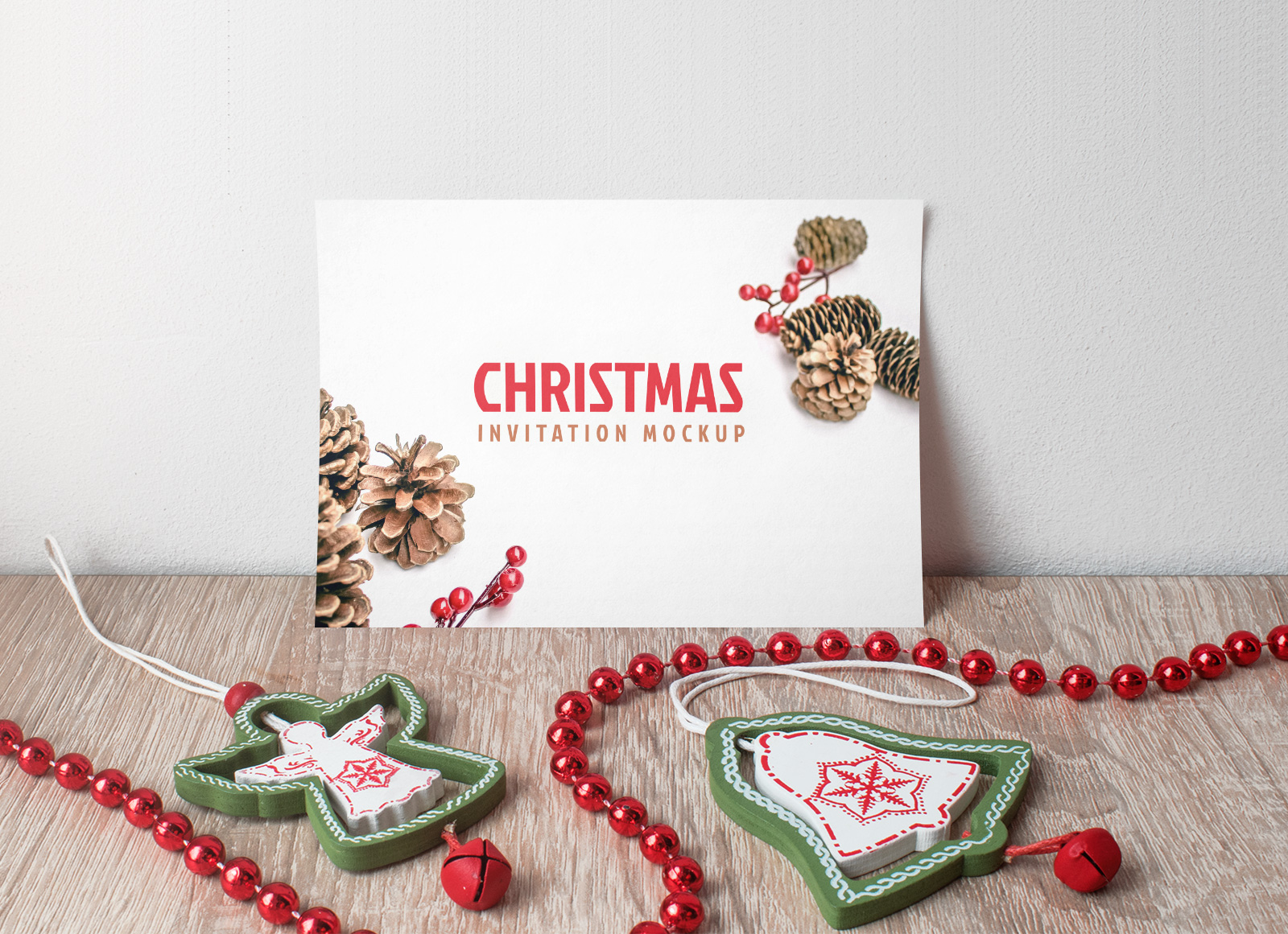 Free Christmas Invitation Card Mockup PSD
