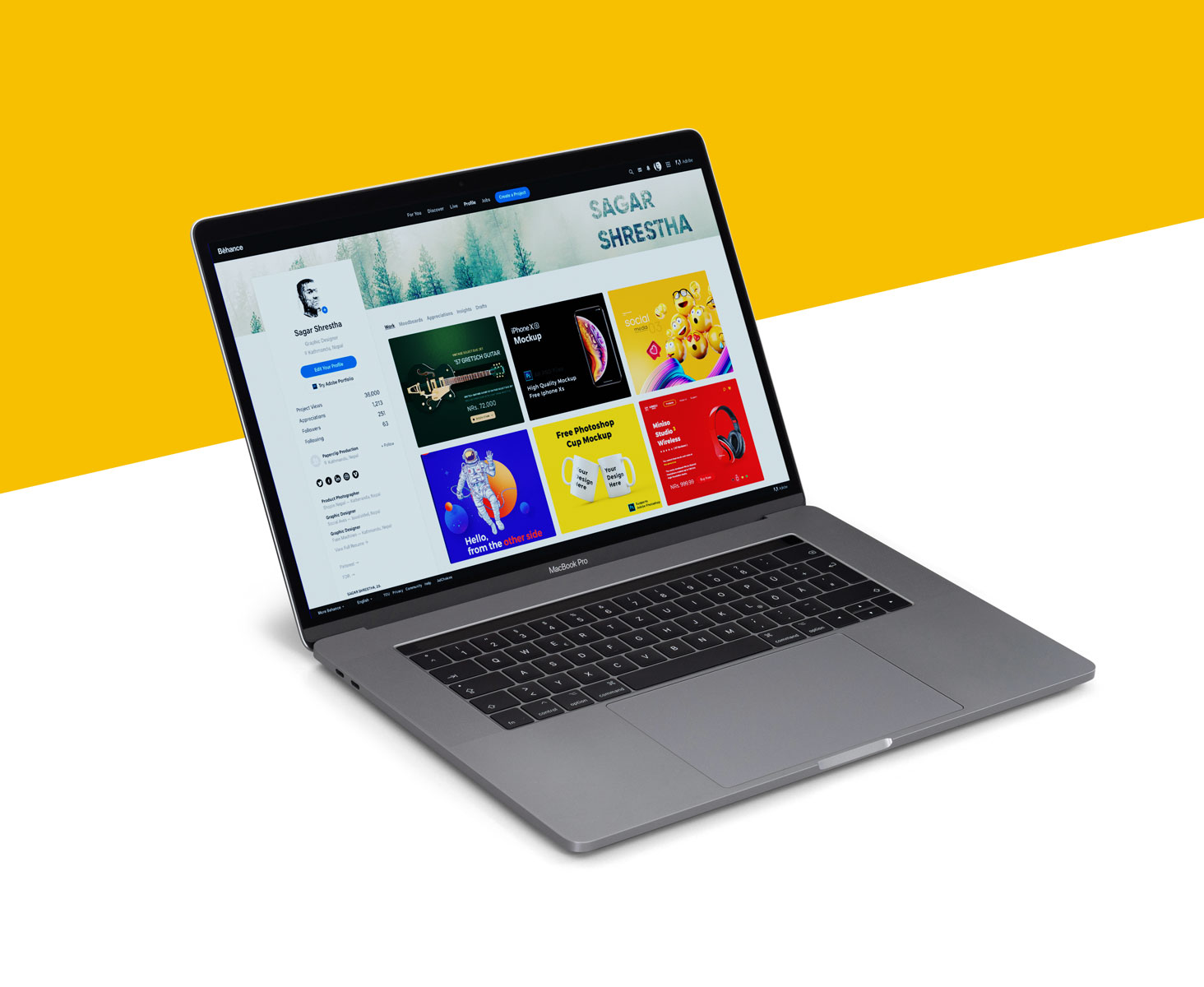 Free MacBook Pro Mockup PSD Set