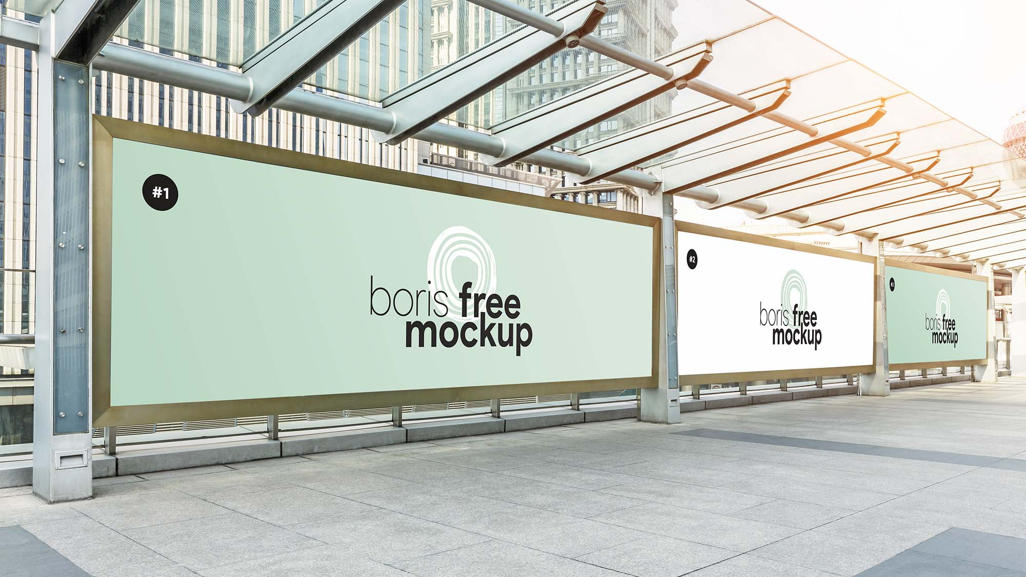 Free Bus Stop Advertising Poster Mockup