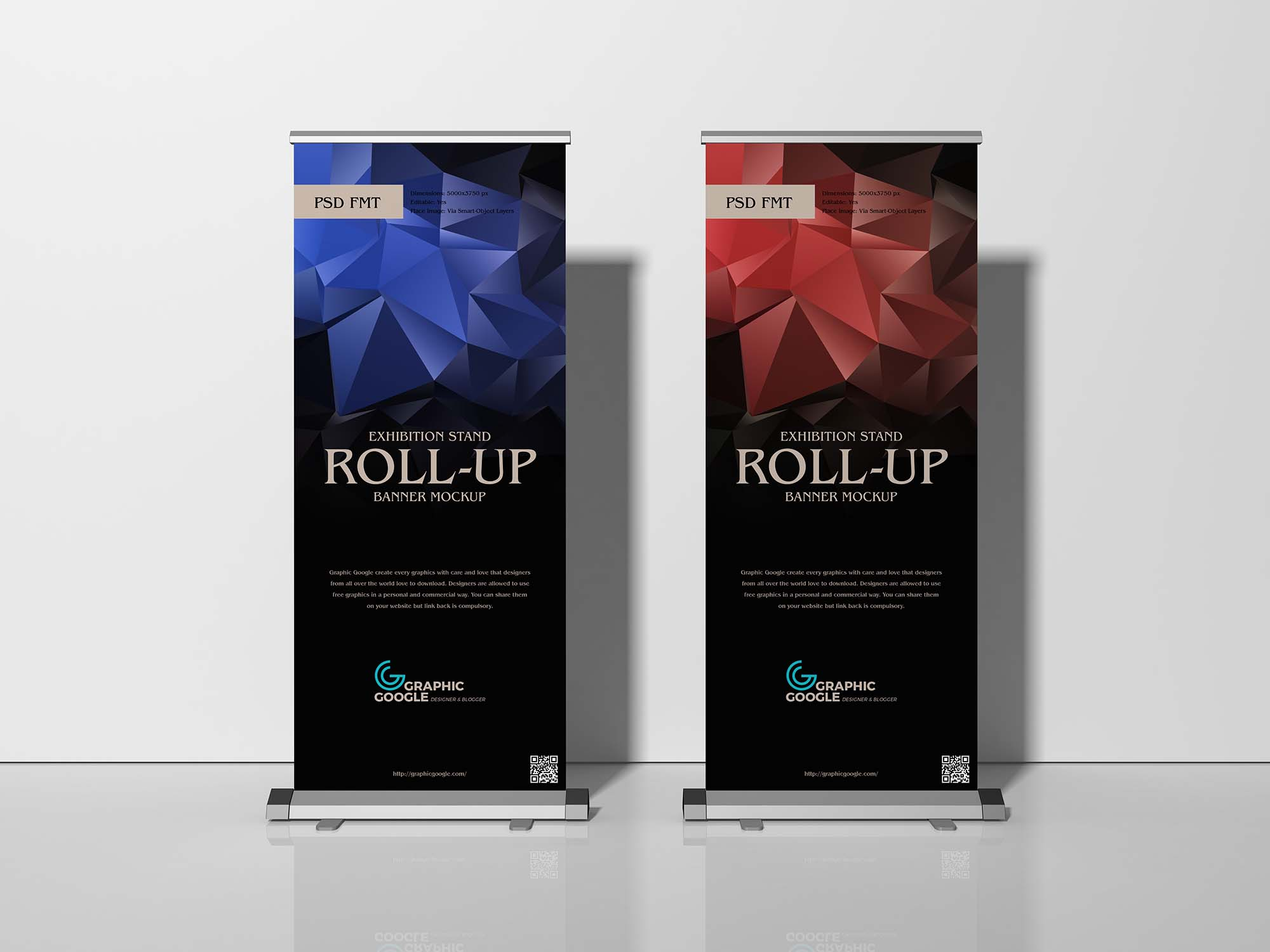 Free Exhibition Stand Roll-Up Banner Mockup 01
