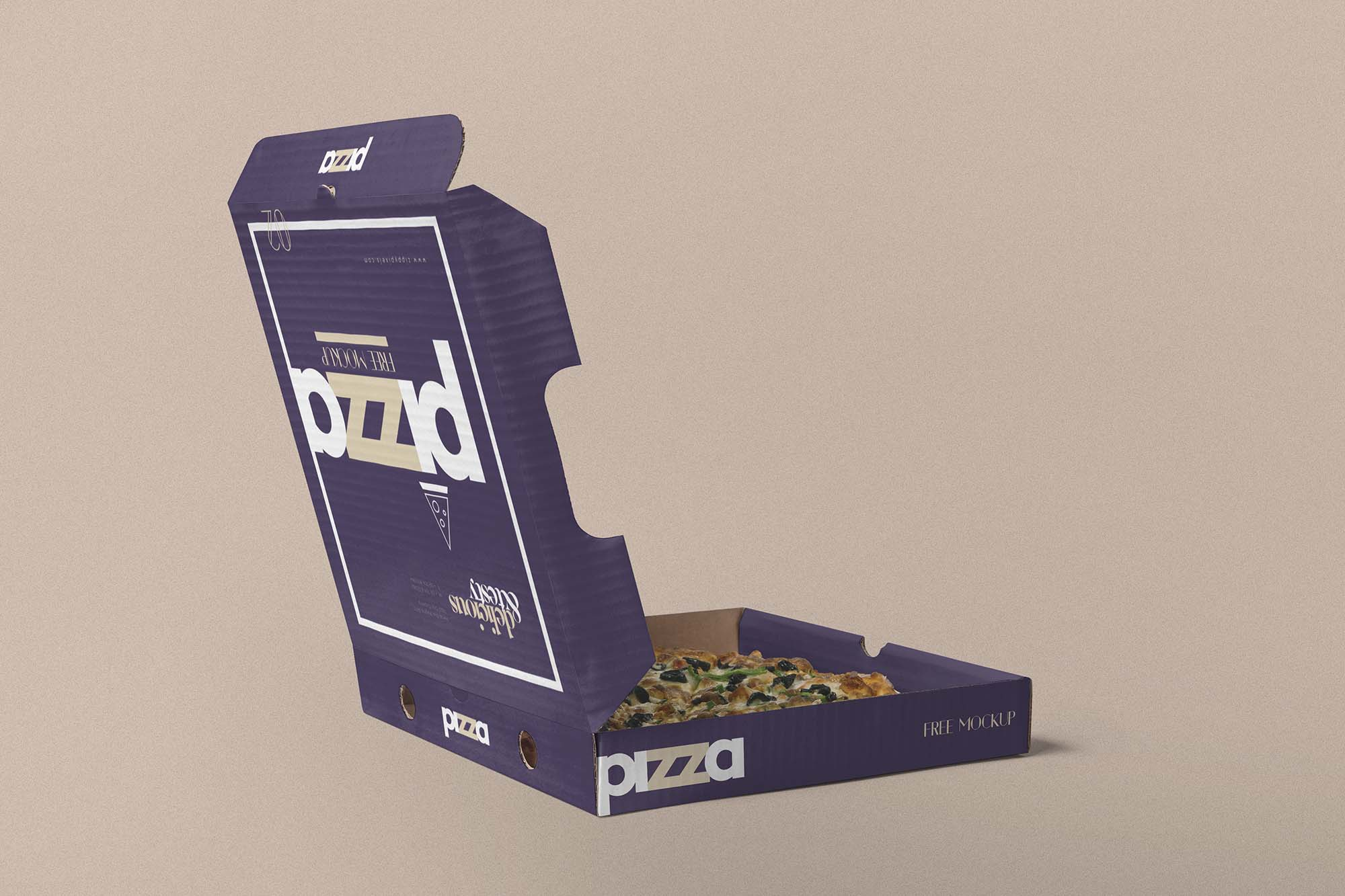 Free Opened Pizza Box Mockup