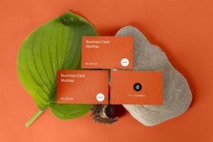 Three Simplistic Business Cards Mockup PSD