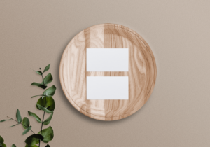Free Business Card Mockup On Wooden Tray