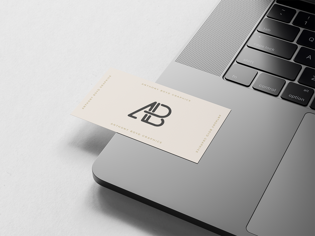 Free Business Card on MacBook Pro Mockup