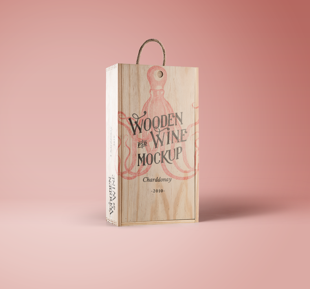 Wine Wood Box Mockup