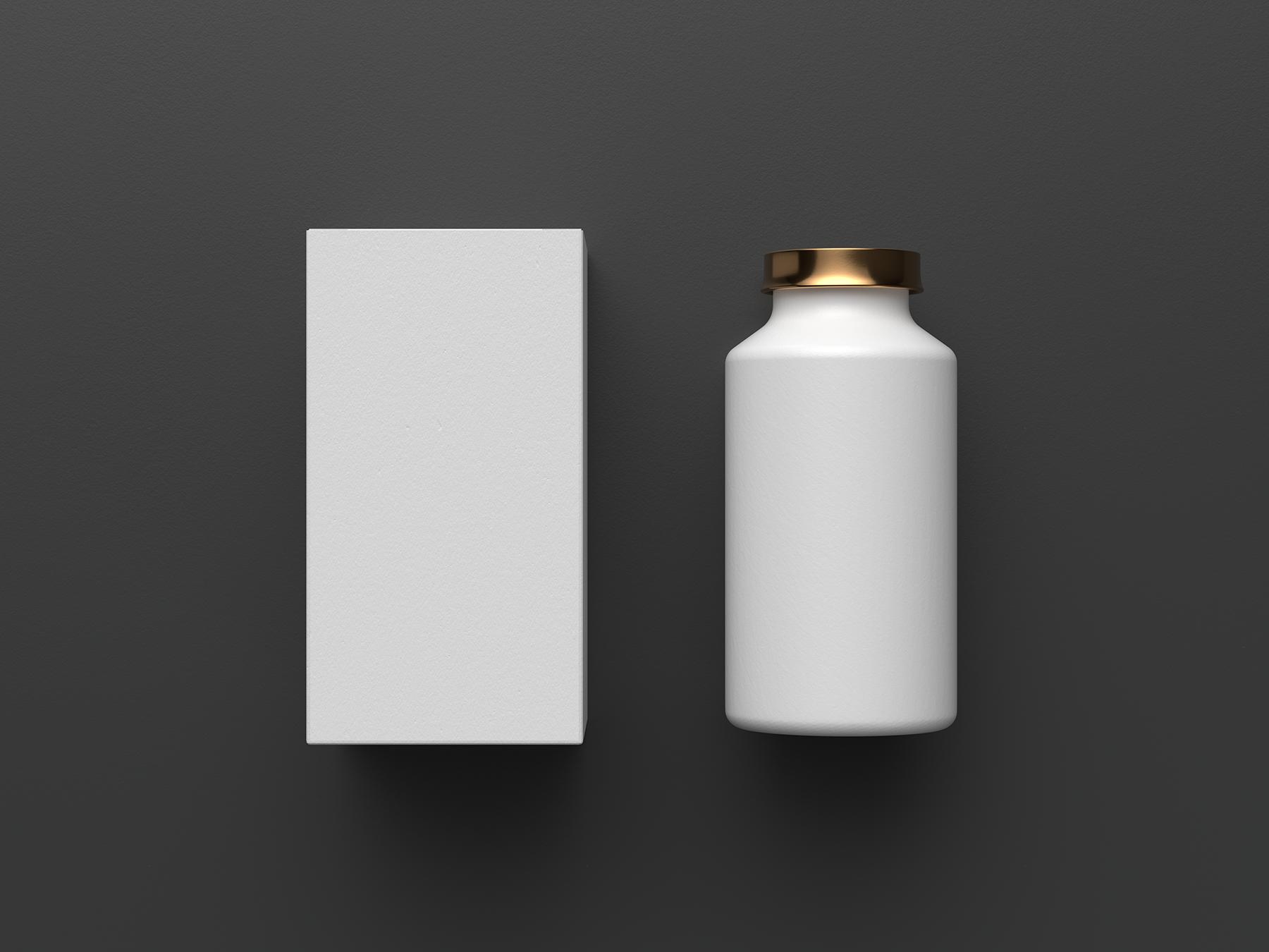 Free Cosmetics Bottle with Box Mockup
