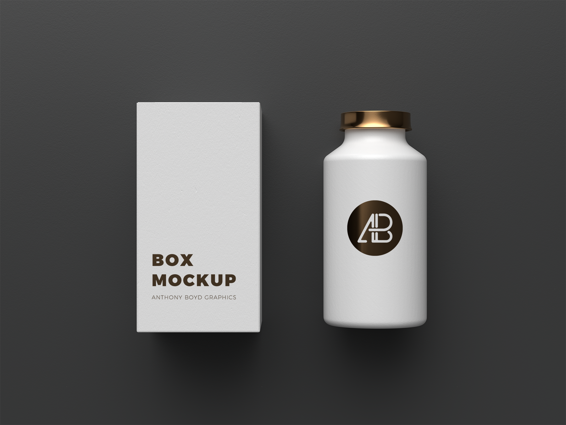 Free Cosmetics Bottle with Box Mockup