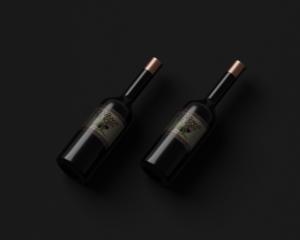 Free Dark Red Wine Bottles Mockup