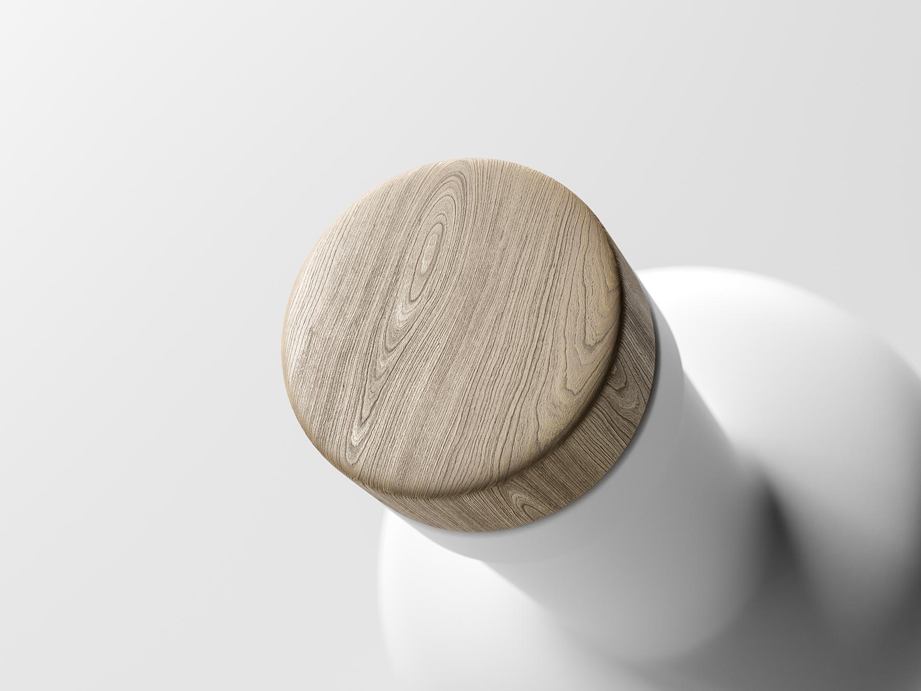 Free Wooden Bottle Cap Mockup
