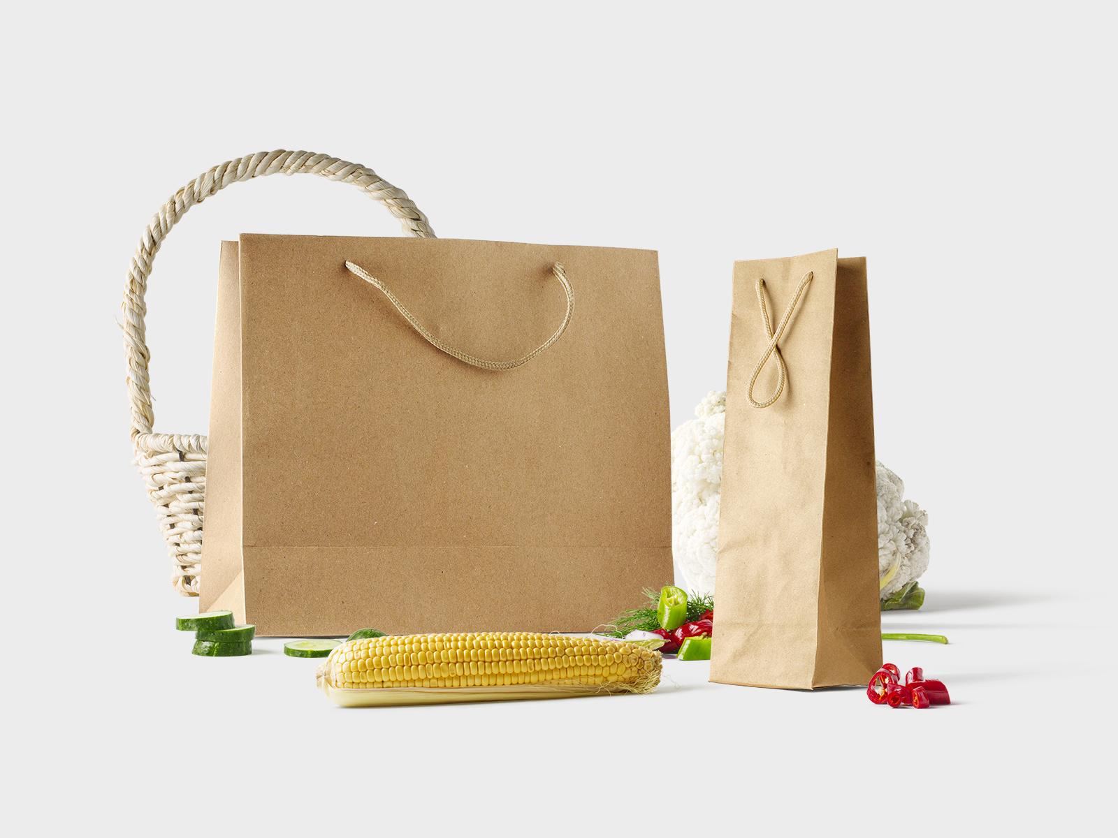 Free Groceries Bags Mockup