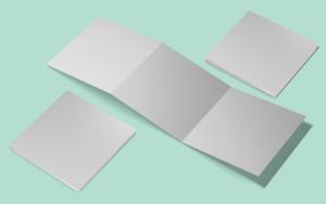 Free Square tri-fold Brochure Mockup