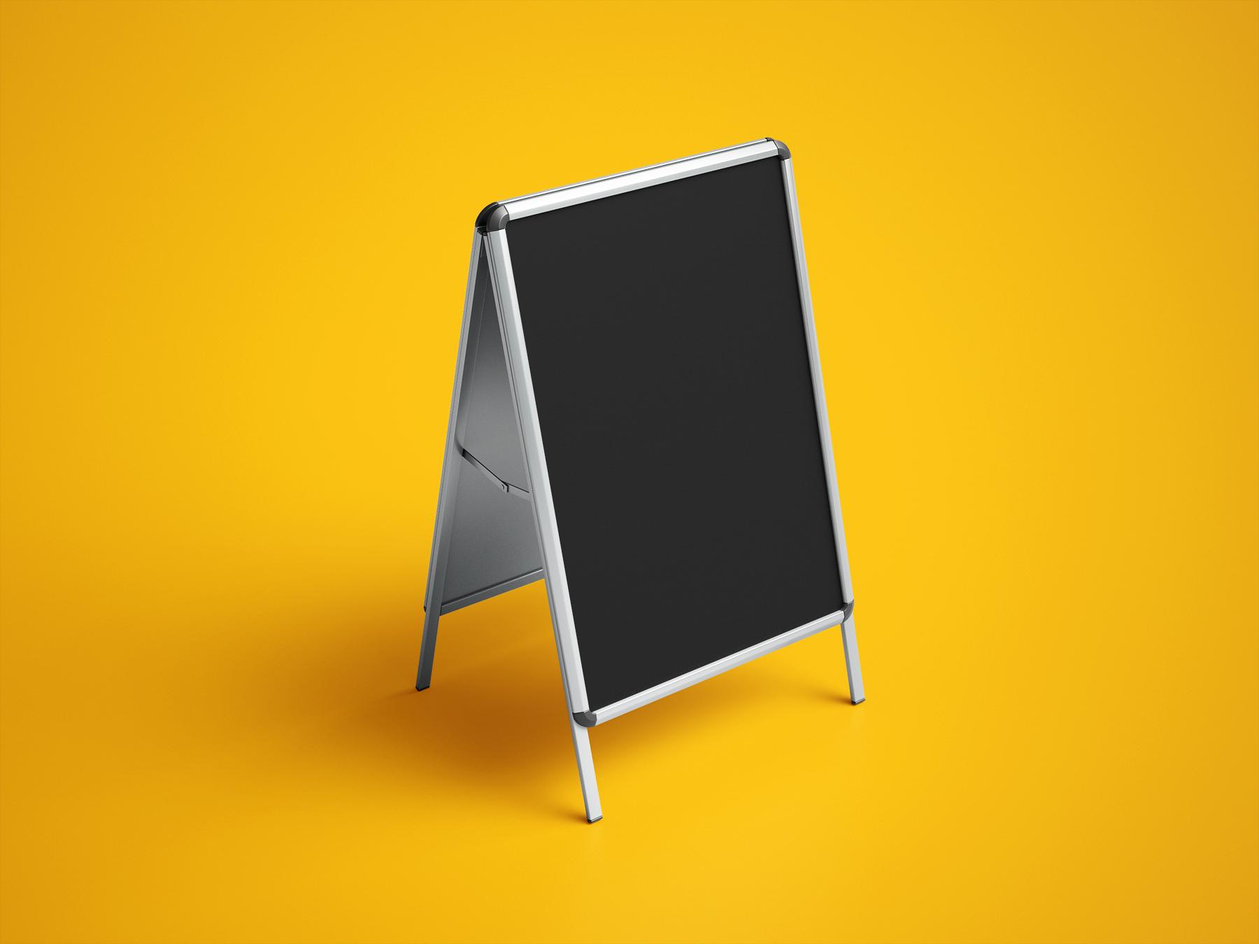 Free A-Frame Advertising Sign Mockup Set