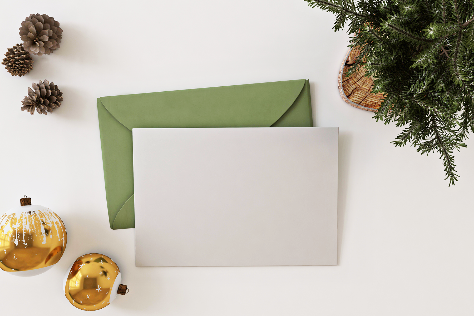 Free Christmas Card with Envelope Mockup
