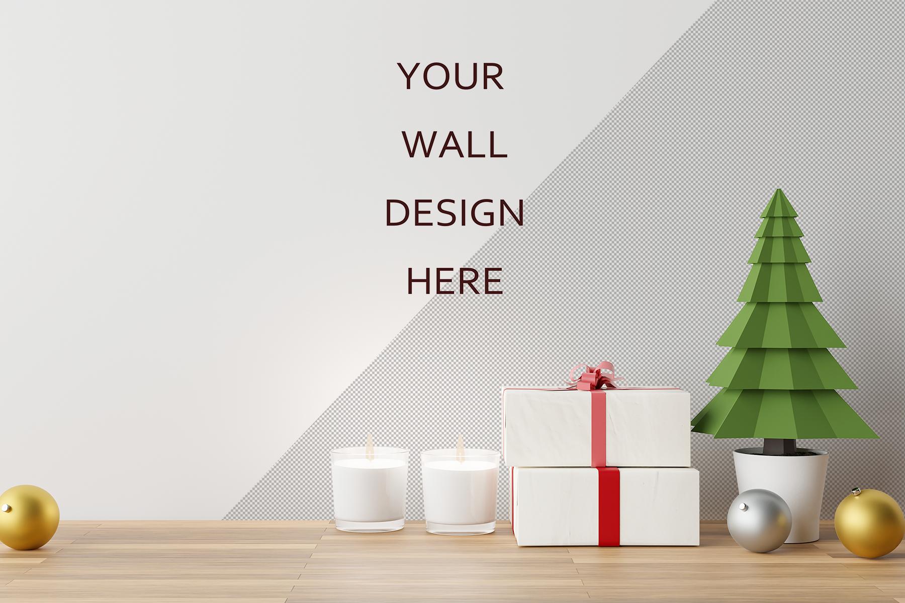 Free Christmas Wall Decal Mockup