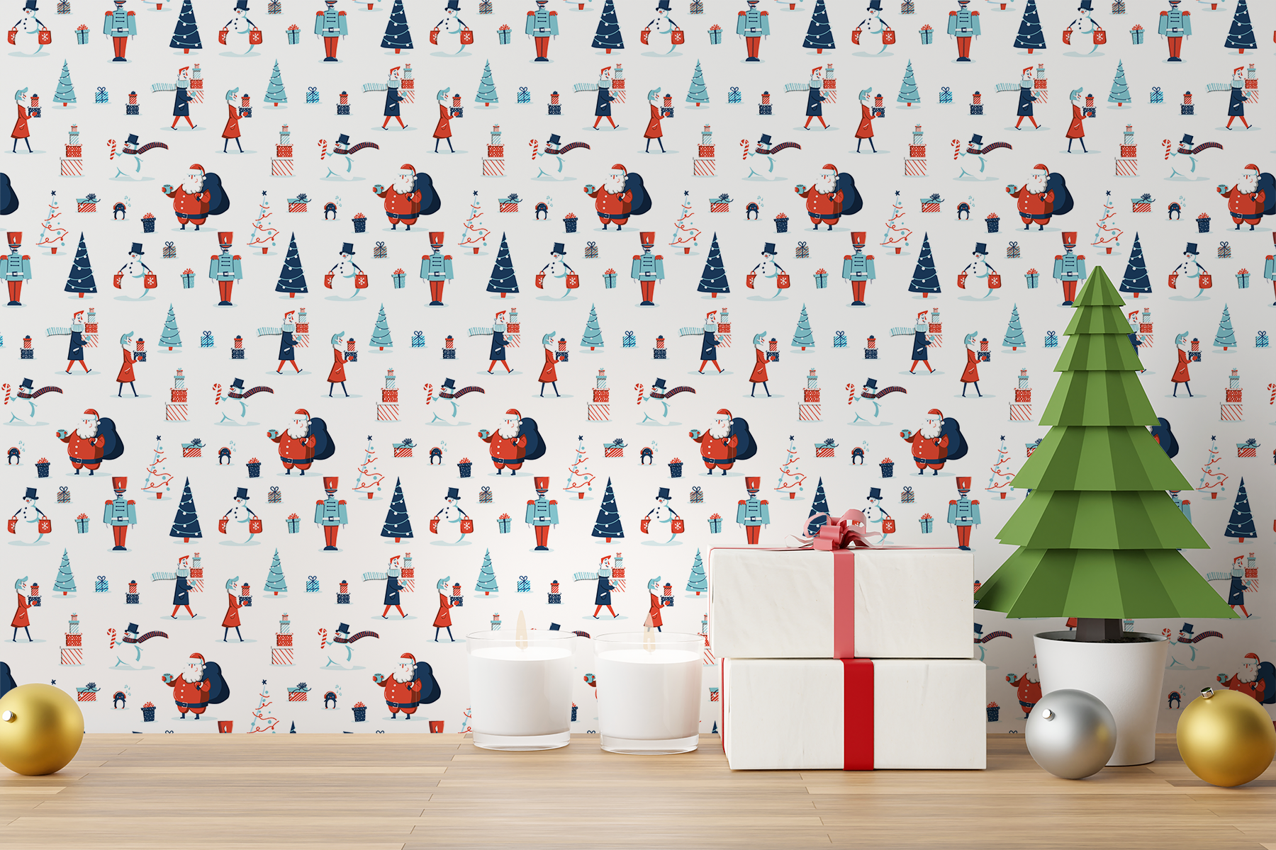 Free Christmas Wall Decal Mockup