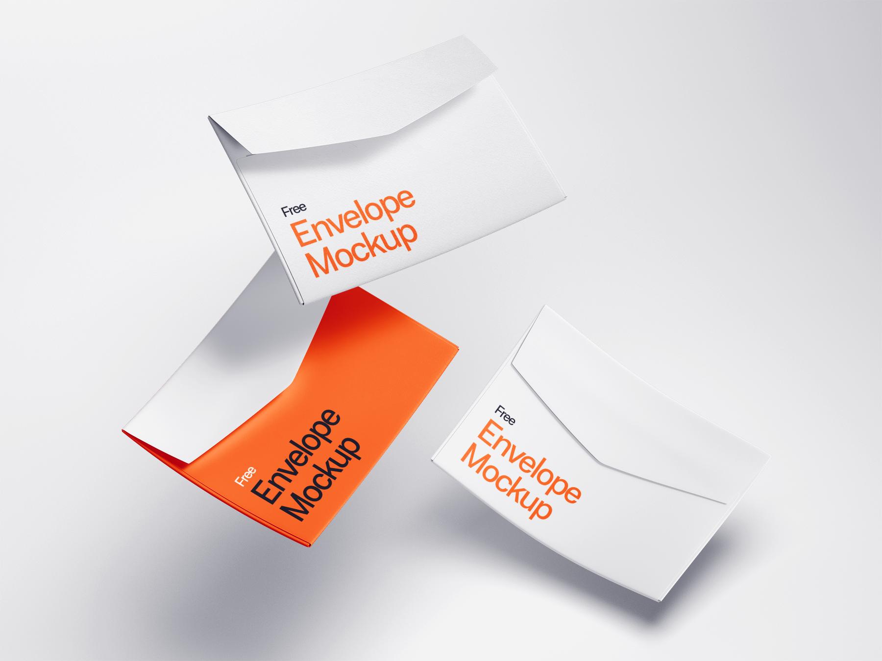 Free Falling Envelopes Mockup