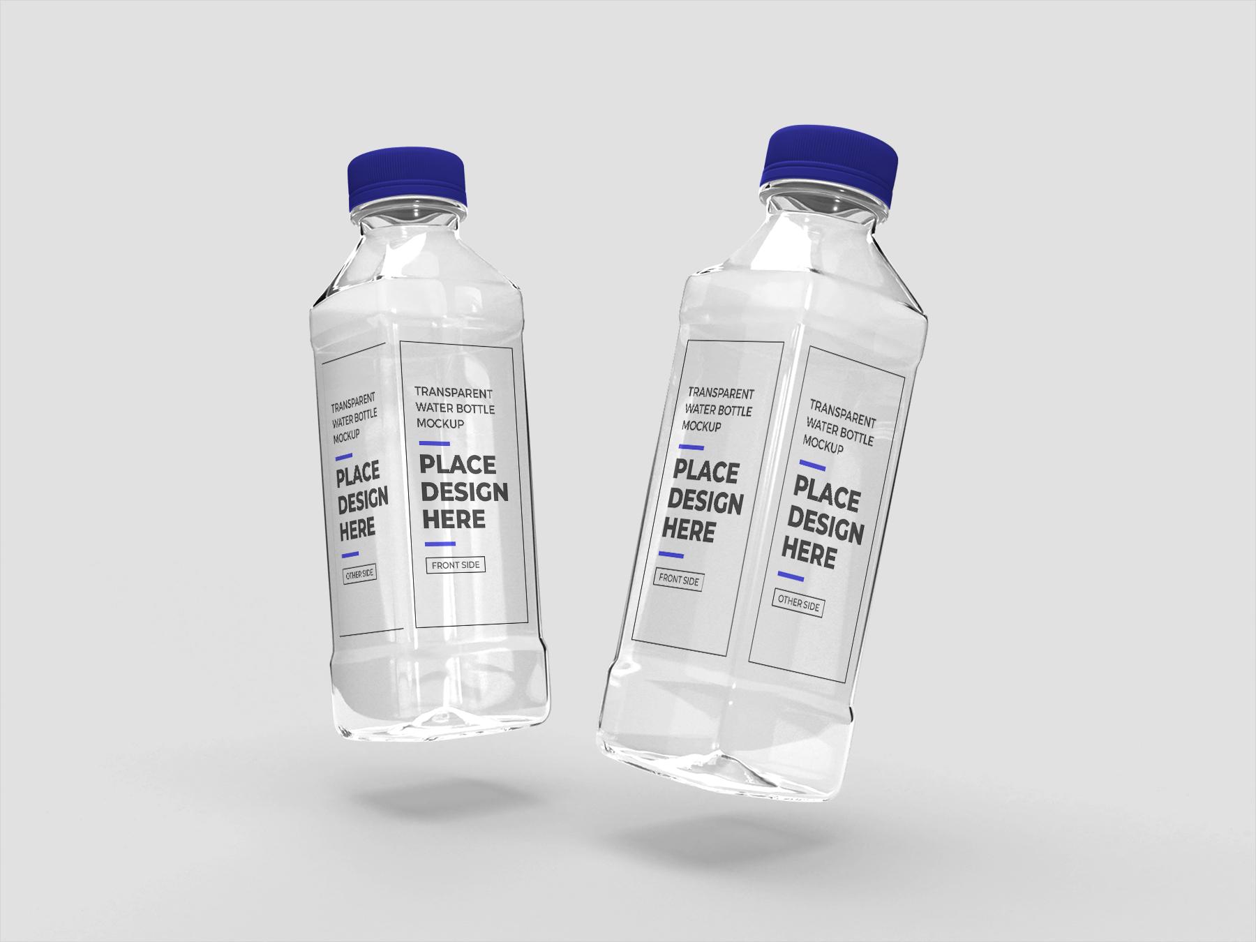 Free Transparent Plastic Bottles Mockup